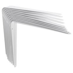 Lot de 10 équerres Emboutie acier epoxy blanc, H.25 x P.30 cm de marque Centrale Brico, référence: B6564000
