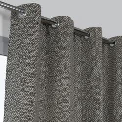 Rideau tamisant, Kimino noir et écru l.140 x H.250 cm de marque Centrale Brico, référence: B6579600