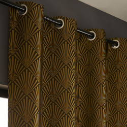 Rideau tamisant, Tilda noir et doré l.140 x H.260 cm de marque Centrale Brico, référence: B6580700