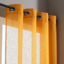 Voilage tamisant, Lium jaune moutarde l.140 x H.240 cm de marque Centrale Brico, référence: B6585300