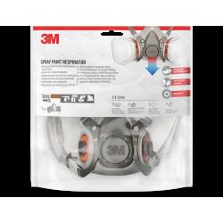 Masque de protection à cartouche peinture et vernis A2P2 3M de marque 3M, référence: B6654300