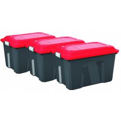 Lot de 3 malles SUNDIS plastique noir / rouge cm de marque SUNDIS, référence: B6702000