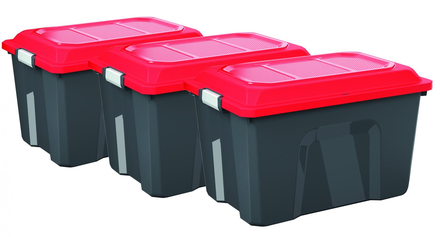 Lot de 3 malles SUNDIS plastique noir / rouge cm