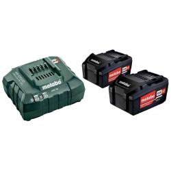 Pack énergie 18 V Pack 2 Batteries 18 volts + chargeur rapide - 2 x 4,0 Ah Li-Power, ASC 55, carton de marque Metabo, référence: B6798000