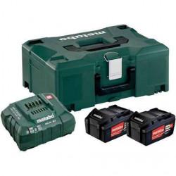 Pack énergie 18 V Pack 2 Batteries 4,0 Ah Li-Power + chargeur rapide - ASC 55, coffret Metabox de marque Metabo, référence: B6798100