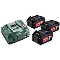 Pack énergie 18 V Pack 3 Batteries 5,2 Ah Li-Power + Chargeur rapide - ASC 55, coffret Metaloc de marque Metabo, référence: B6798400