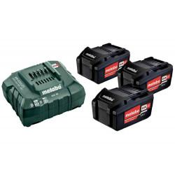 Pack énergie 18 V Pack 3 Batteries 4,0 Ah Li-Power + Chargeur rapide - ASC 55, coffret Metaloc de marque Metabo, référence: B6798500