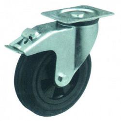 Roulettes pivotantes en caoutchoux avec frein de marque OUTIFRANCE , référence: B1185000