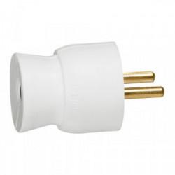 Fiche mâle plastique 2P+T 16A droit blanc de marque LEGRAND, référence: B1213900