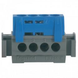 Bornier neutre bleu 4 bornes 16mm² de marque LEGRAND, référence: B1230700
