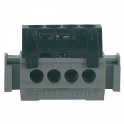 Bornier phasé noir 4 borne 16mm² de marque LEGRAND, référence: B1231000
