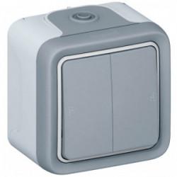 Plexo double va et vient gris saillie de marque LEGRAND, référence: B1247900