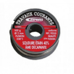 Bobine de fil d'étain Ø 2 mm (80 g) de marque EXPRESS, référence: B1444800