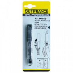 Etui plastique de 10 lames de cutter 9,5 mm de marque OUTIFRANCE , référence: B1499000