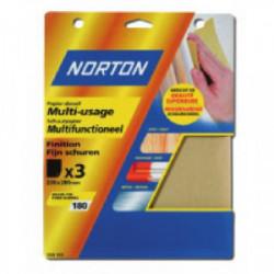 3 feuilles de papier corindon (grain 40) de marque NORTON, référence: B1585900