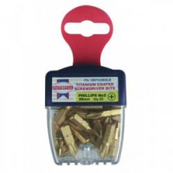 25 embouts de vissage titanium 25 mm Cruciforme n°2 de marque FAITHFULL, référence: B1677300