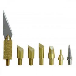 Jeu de 6 pannes + 1 lame pour pyrograveurs de marque MAXICRAFT, référence: B1679800