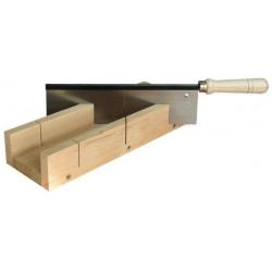 Boîte à onglet bois + scie à dos 250 x 70 x 30 mm de marque OUTIFRANCE , référence: B1713300