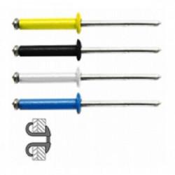 48 rivets éclatés alu/acier à tête plate couleur Ø 4 x 16 mm de marque TECHMAN, référence: B1725300