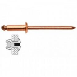 50 rivets cuivre / acier à tête plate Ø 4 x 12 mm de marque TECHMAN, référence: B1725900