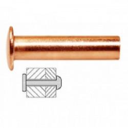 25 rivets pleins cuivre Ø 4 x 16 mm de marque TECHMAN, référence: B1729000