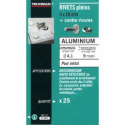 25 rivets pleins alu Ø 4 x 16 mm de marque TECHMAN, référence: B1729200