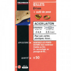 50 oeillets laiton Ø 4 mm avec outil de pose de marque TECHMAN, référence: B1729900