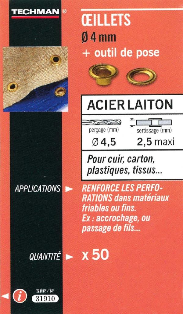 50 oeillets laiton Ø 4 mm avec outil de pose