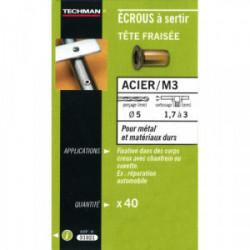 40 écrous M4 à sertir acier avec tête fraisée de marque TECHMAN, référence: B1731100
