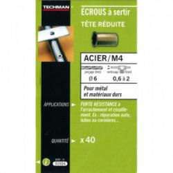 40 écrous M4 à sertir acier avec tête réduite de marque TECHMAN, référence: B1731300
