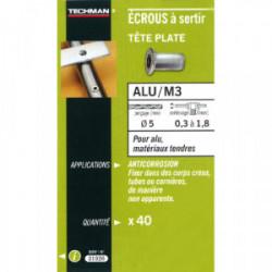 40 écrous M3 à sertir alu avec tête plate de marque TECHMAN, référence: B1731500