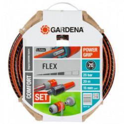 Tuyau d'arrosage Flex Ø 15 mm - 20 m + lance et raccords de marque GARDENA, référence: J1886200