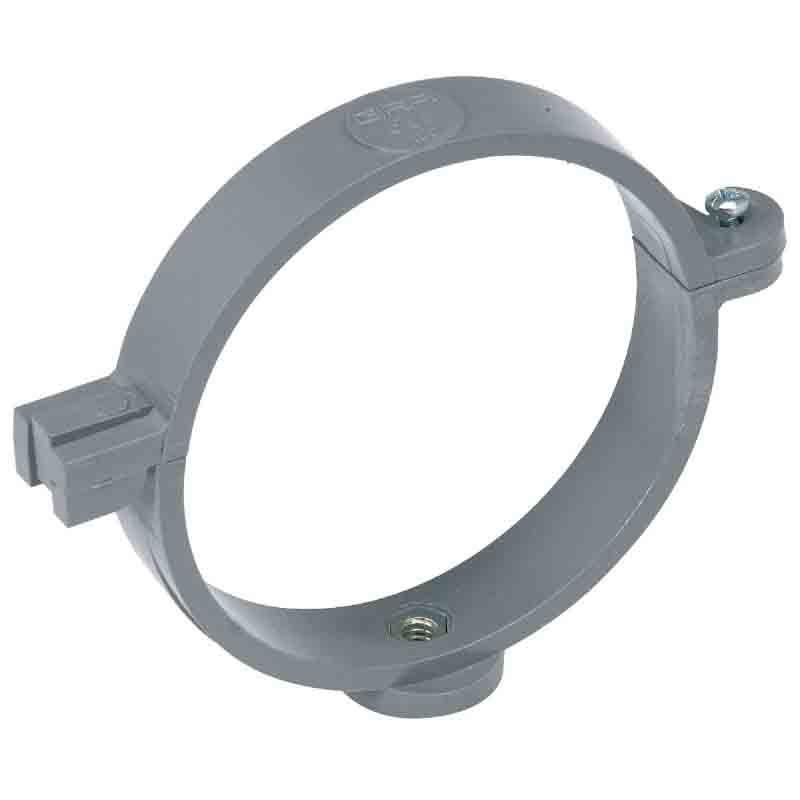 Collier à charnière pour tuyau d'évacuation Ø 100 mm gris