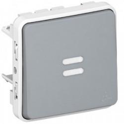 Plexo poussoir lumineux bascule gris mécanisme de marque LEGRAND, référence: B3334600