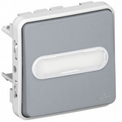 Plexo poussoir étiquette lumineuse gris mécanisme de marque LEGRAND, référence: B3334800