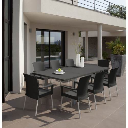 grosfillex salon de jardin ineo anthracite 8 fauteuils. Black Bedroom Furniture Sets. Home Design Ideas