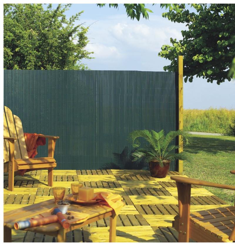 Canisse PVC simple face Vert 85% occultant 2x3 m PLASTICANE
