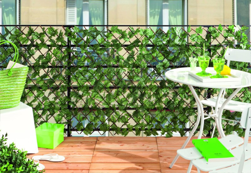 Treillis de balcon osier + feuilles synthétiques 1 x 2m GREENLY