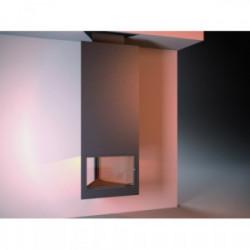 Cheminée centrale suspendue avec porte et foyer acier CH95F -  anthracite de marque FOCGRUP, référence: B3716700