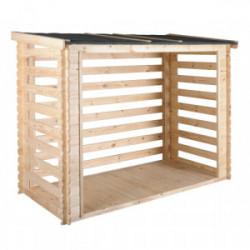 Abri bûches toit (bois+toile bitûmée) 3,5 stères de marque Jardipolys, référence: J3963700