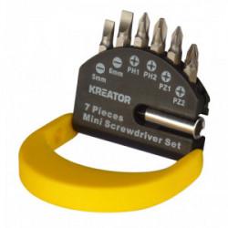 Jeu de 6 embouts de vissage (plat/Ph/Pz 25mm) avec son porte-embouts de marque Kreator, référence: B4036300