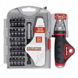 Porte-embouts en coffret avec 20 embouts de vissage (25mm) de marque Kreator, référence: B4036700