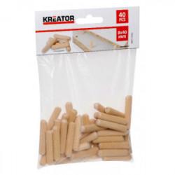 Lot de 40 tourillons bois Ø 8x40mm de marque Kreator, référence: B4040700