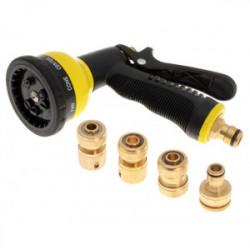 Pistolet d'arrosage avec jeu de 4 raccords en laiton de marque FAITHFULL, référence: J4180200