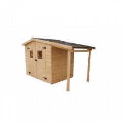 Abri en panneaux de bois avec bûcher - 3,70+2,08 m² de marque HABRITA, référence: J4214400
