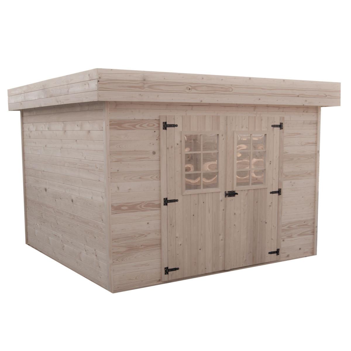 Abri en madriers massifs avec toit plat - 8,47 m²
