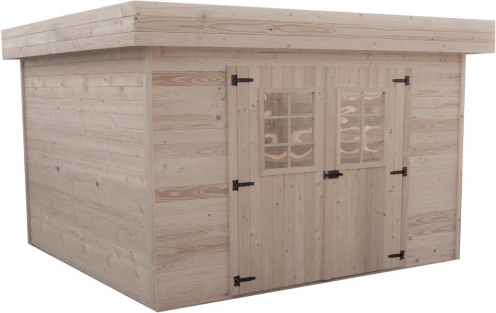 Abri en madriers massifs avec toit plat - 11,38 m²
