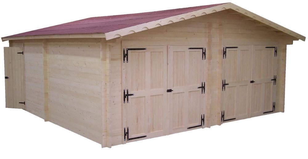 Garage double en madriers massifs 42mm - 35,00 m²