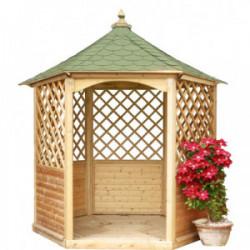 Pavillon de jardin hexagonal toiture en bardeau - 4,74 m² de marque HABRITA, référence: J4217700