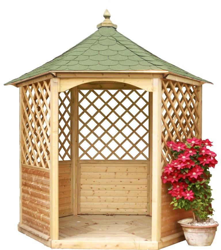 Pavillon de jardin hexagonal toiture en bardeau - 4,74 m²